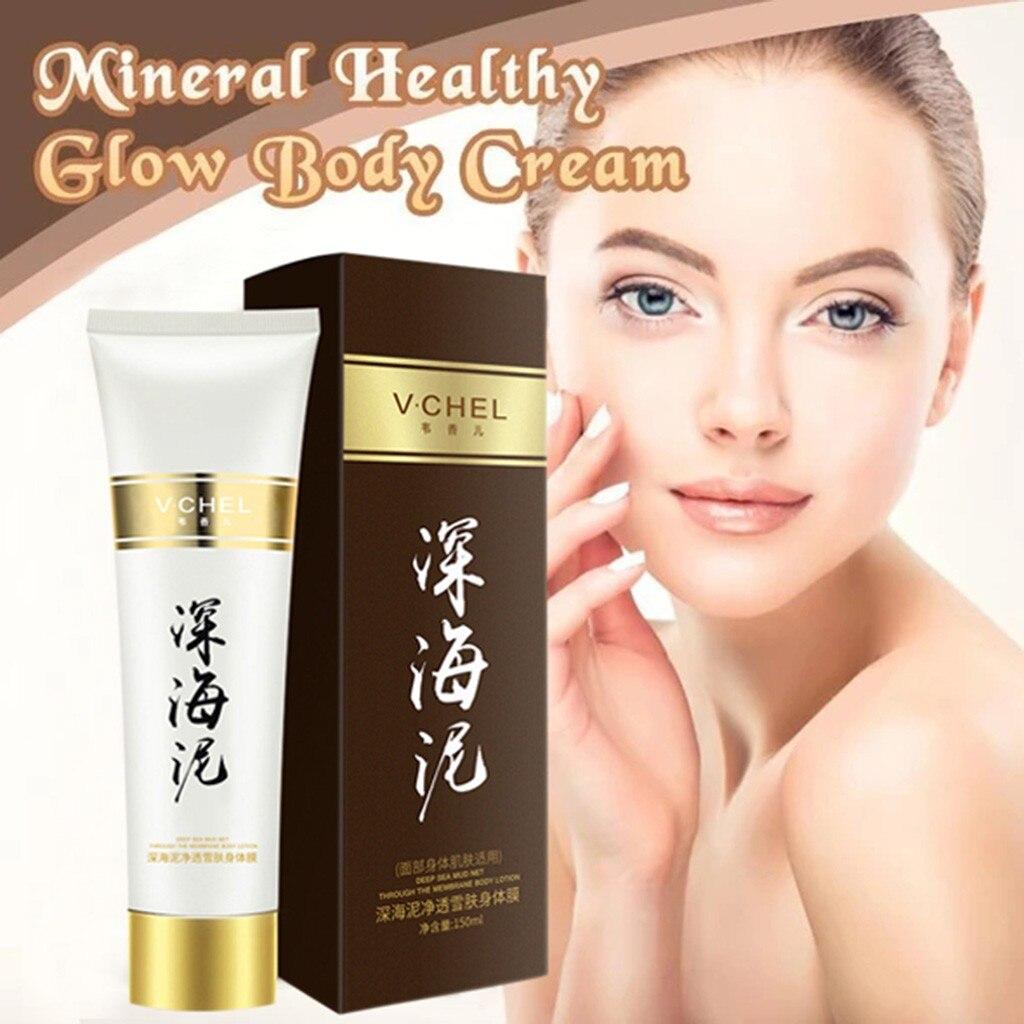 Mineral Healthy Glow Body Cream Volcanic Mud Mask Fast Skin Whitening Cream Deep Clean Skin Moisturizing Exfoliating 150ml