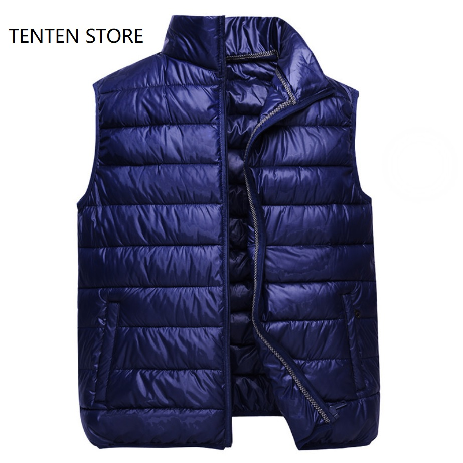 Fall Winter Plus Sizes Ultra Thin Down Cotton Puffer Vest Jacket Coats Mens Zipper High Neck Short Gilet S Jacket With Pockets
