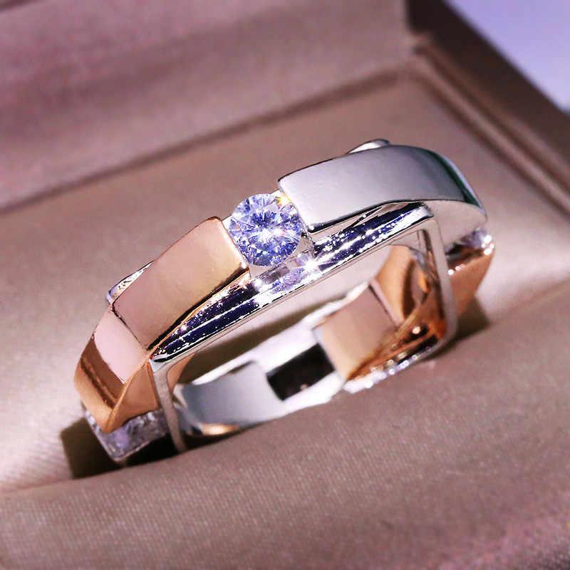 ユニークなスタイルの女性のシルバーローズゴールド指リングファッションクリスタルスモールジルコン石リングヴィンテージの結婚指輪