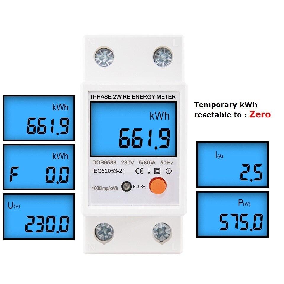 Однофазный сброс нуля, цифровой измеритель энергии на Din-рейке, кВтч, ваттметр, измеритель энергопотребления, анализатор электроэнергии