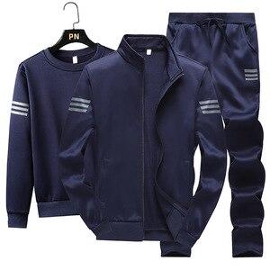 Image 1 - 3Pcsชุดแฟชั่นผู้ชายฤดูใบไม้ร่วงชุดกีฬาSportwear Casual Sweatshirt + ขนแกะเสื้อ + กางเกงกีฬาชุดสูทplusขนาด