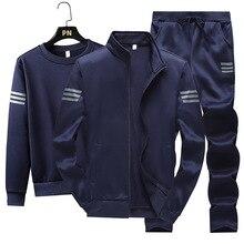 Conjunto de 3 uds. De ropa deportiva de otoño para hombre, traje informal con sudadera + chaqueta cálida de lana + Pantalones para correr, chándal de talla grande