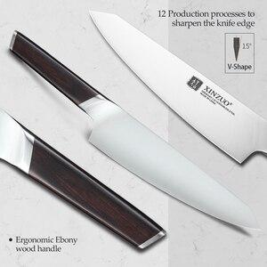 Image 3 - Xinzuo 4 pçs facas de cozinha conjunto aço inoxidável profissional cozinhar chef osso chopper cutelo carne utilitário faca ébano lidar com