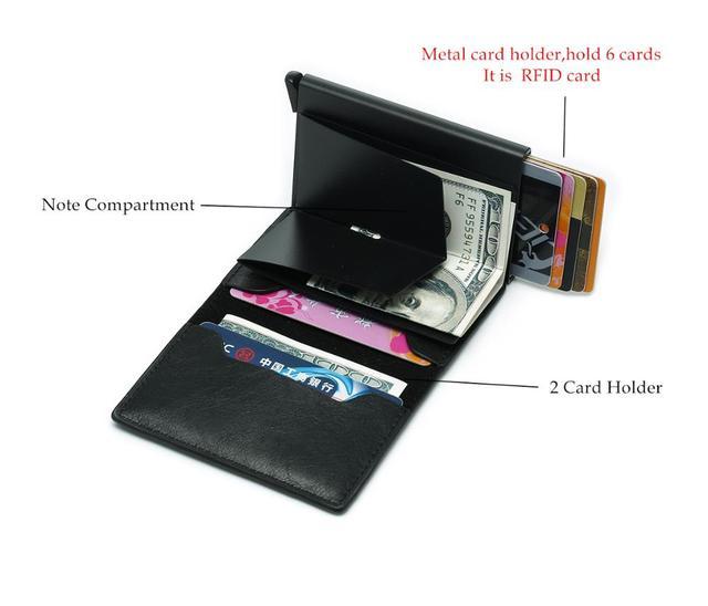 Bycobecy Antitheft Men Vintage Credit Card Holder Blocking Rfid Wallet Leather Unisex Security Wallet Leather Women Magic Wallet 3