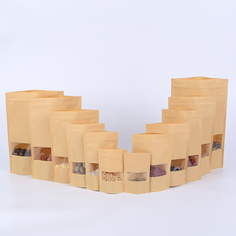 100pcs Packing Zip Lock Kraft Paper Window Bag Stand Up Gift Dried Food Fruit Tea Packaging Pouches Zipper Self Sealing Bags