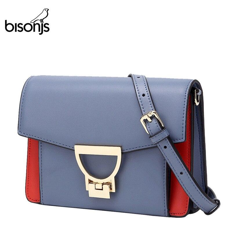 BISONJS Luxury Handbags Women Bags Designer Cow Leather Crossbody Bags For Women  Female Box Shoulder Bags B1638