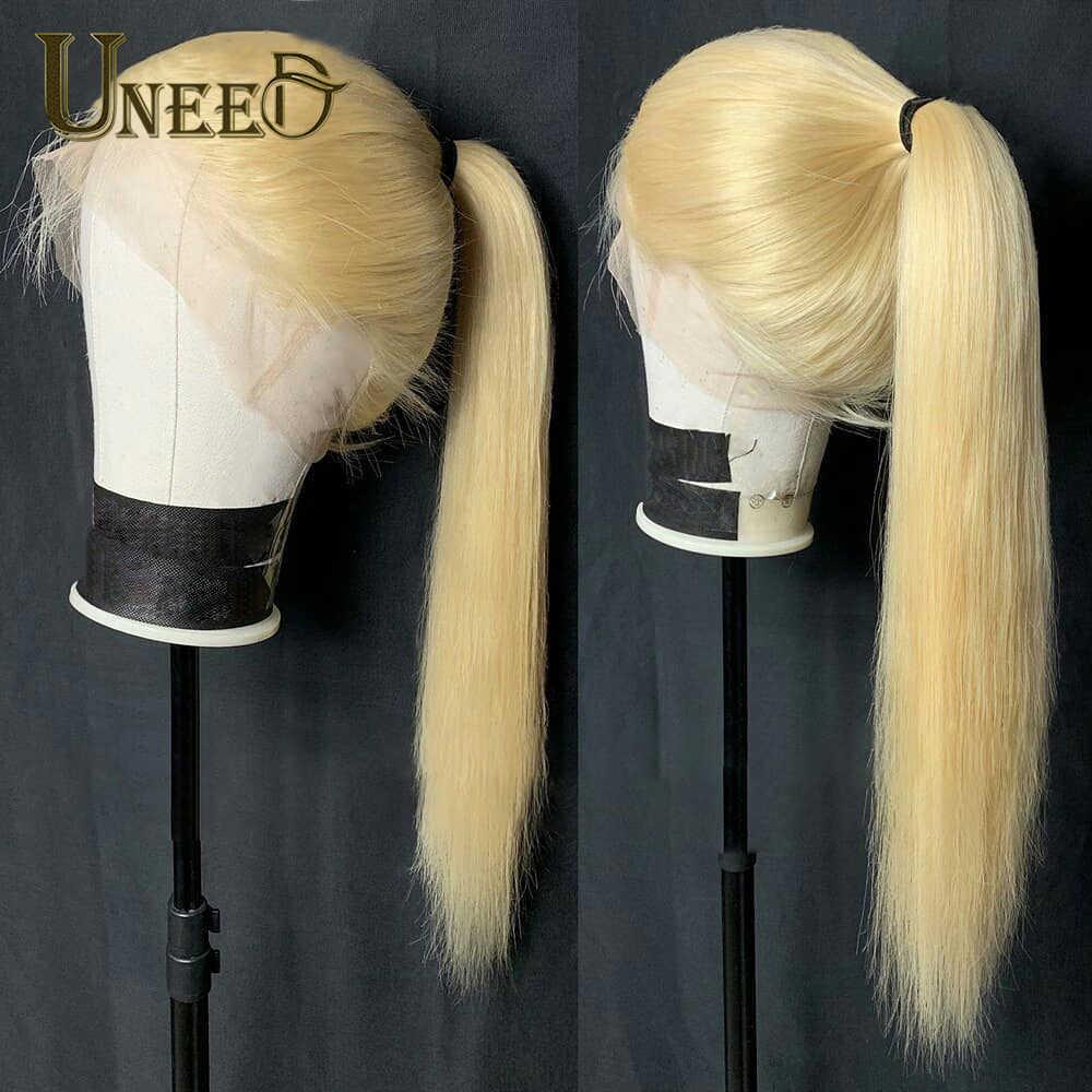 Uneed saç brezilyalı gevşek derin dalga demetleri ile kapatma 3/4 demetleri brezilyalı Remy insan saçı örgüsü demetleri ile dantel kapatma