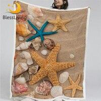 BlessLiving Beach Seashell Plush Blanket 3D Print Blankets For Beds Realistic Bedding Sand Starfish Throw Blanket Koce Dropship