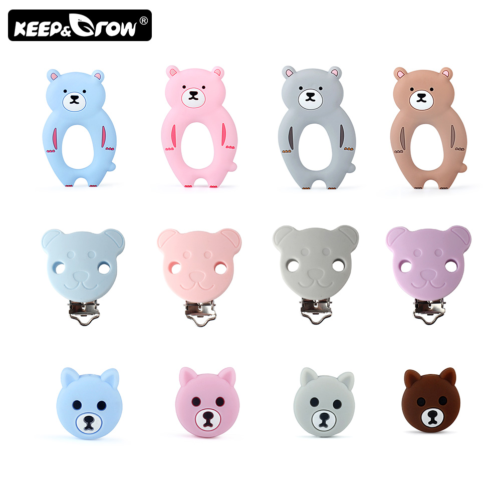 2pcs Rodent Silicone Bear Baby Teethers Silicone Beads Baby Pacifier Clips DIY Teething Necklace Toys Clip Nipple Clasps