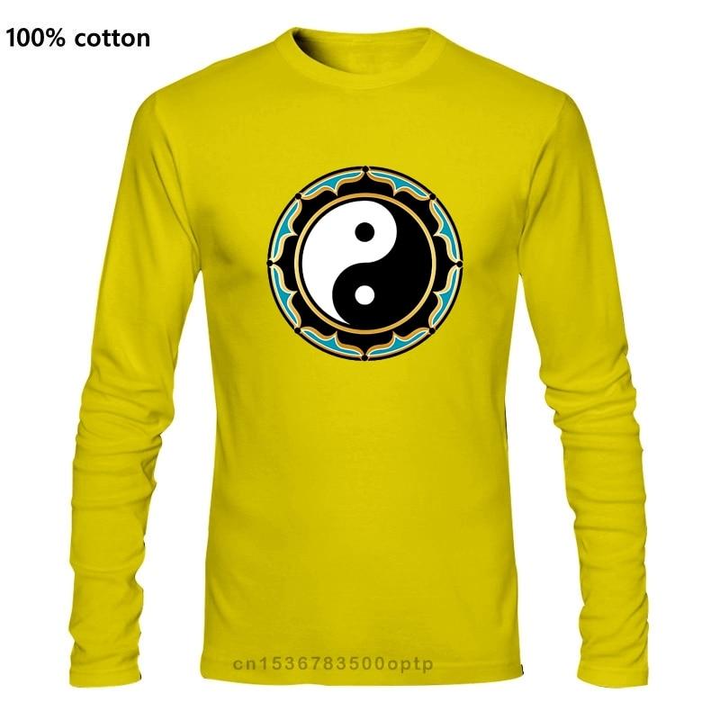 Футболка с лотосом Инь Янь Топ китайский символ медитация дзен религиозное благосостояние подарок забавная футболка Футболки    АлиЭкспресс