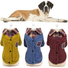 Pet Sweater Winter Dog Clothes Warm Coat For Large Small Dog Knitting Crochet Cloth Jersey For Dog Jacket Chihuahua Plaid Shirt