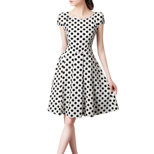 Black White Polka Dot Vintage Dress Summer Women Floral Prin