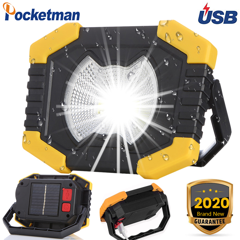 100W Led Work Light 180 Degrees Adjustable Lanterns Built-in Battery Spotlight Rechargeable Solar Energy For Outdoor Camping