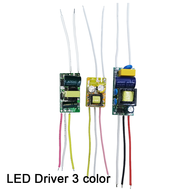 LED Driver 3 Color Current 250mA 1-3W 4-7W 8-12W AC90-265V Lighting Transformers For LED Bulb Power Supply Double Color 3Pin
