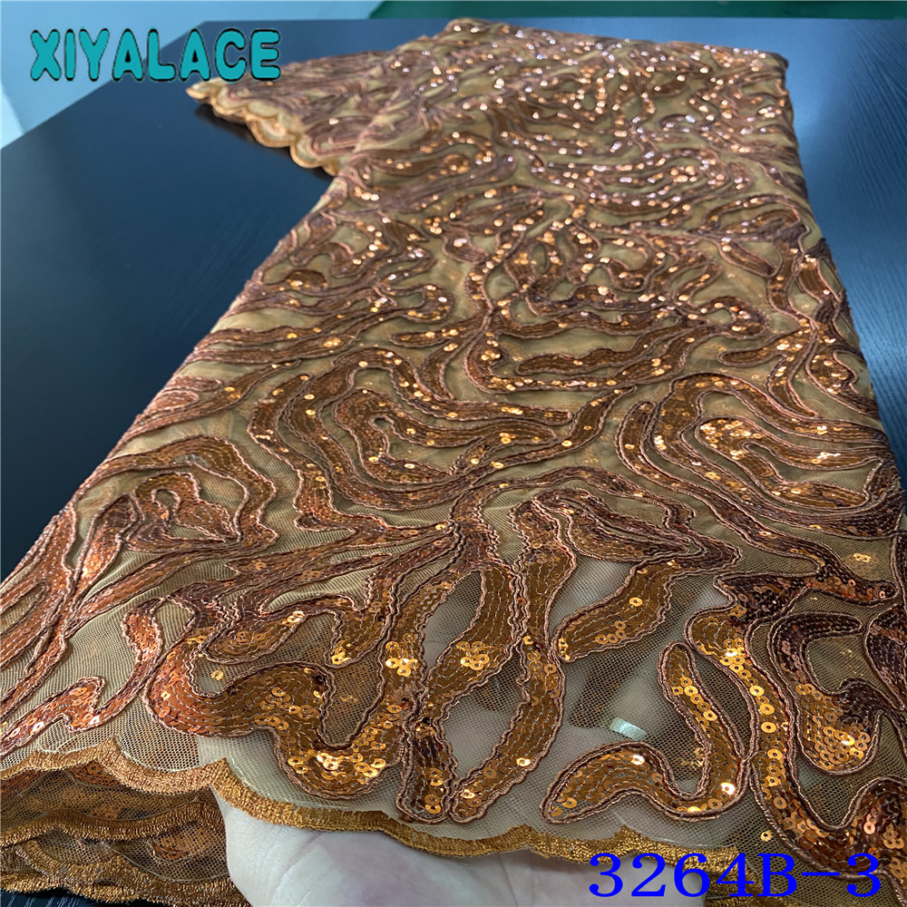African Lace Fabric Embroidered Sequins Lace Fabric Hot Sale French Fabrics Laces Nigerian Ghana Occasional Sewing Wear KS3264B