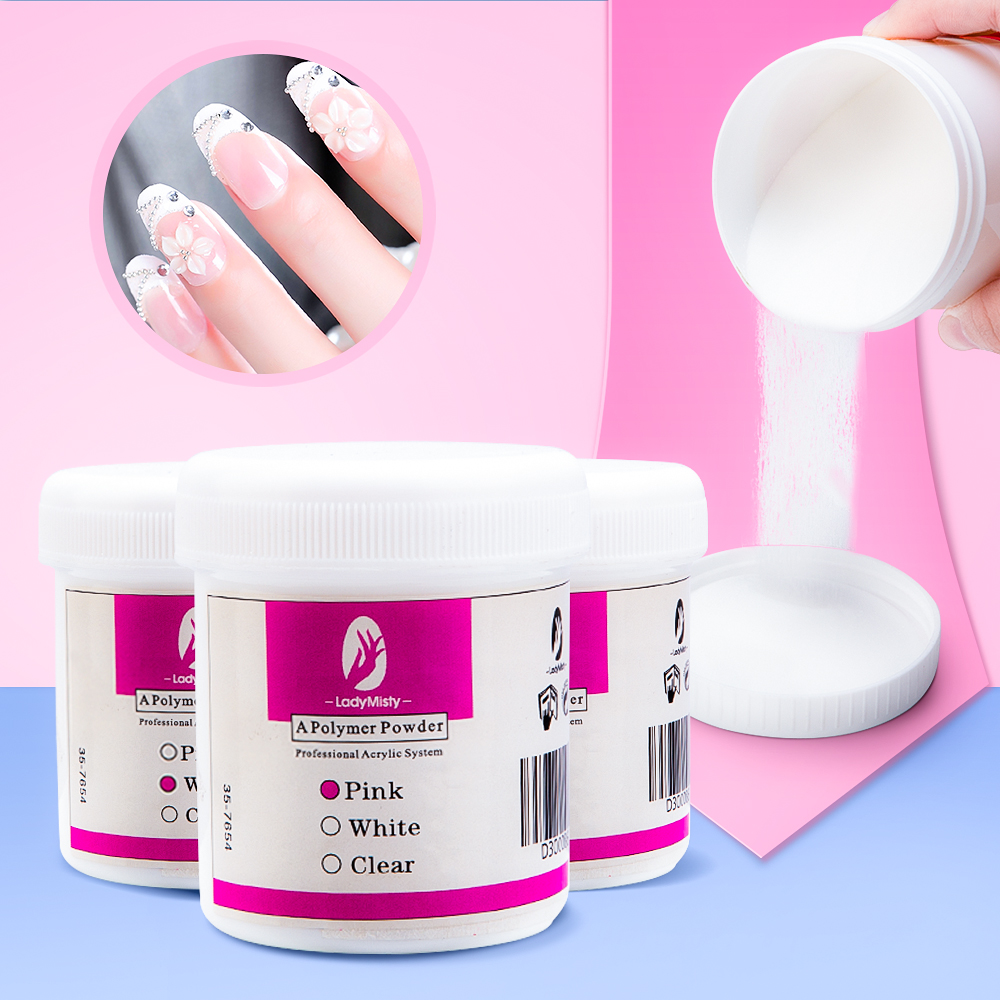 120ml Acrylic Powder Clear Pink White Carving Crystal Polymer 3D Nail Art Crystal Powders Builder Gel Tips Builder for Nails 1