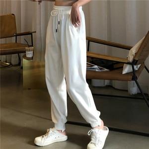 Image 3 - מכנסיים נשים פשוט רופף קרסול אורך מכנסיים קוריאני סגנון שרוך רכה סטודנטים נשים מוצק קיץ לנשימה גבירותיי יומי