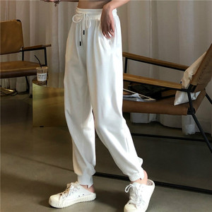 Image 3 - Pants Women Simple Loose Ankle Length Trousers Korean Style Drawstring Students Soft Womens Solid Summer Breathable Ladies Daily