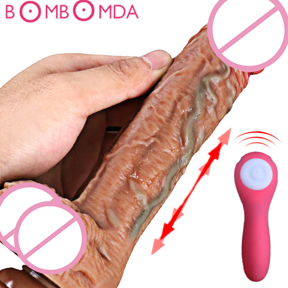 8 Mode Vibrating Realistic Penis <font><b>Dildo</b></font> Automatic Telescopic Heating Real Penis <font><b>Dildos</b></font> Thrusting Masturbator <font><b>Sex</b></font> <font><b>Toys</b></font> for Woman image