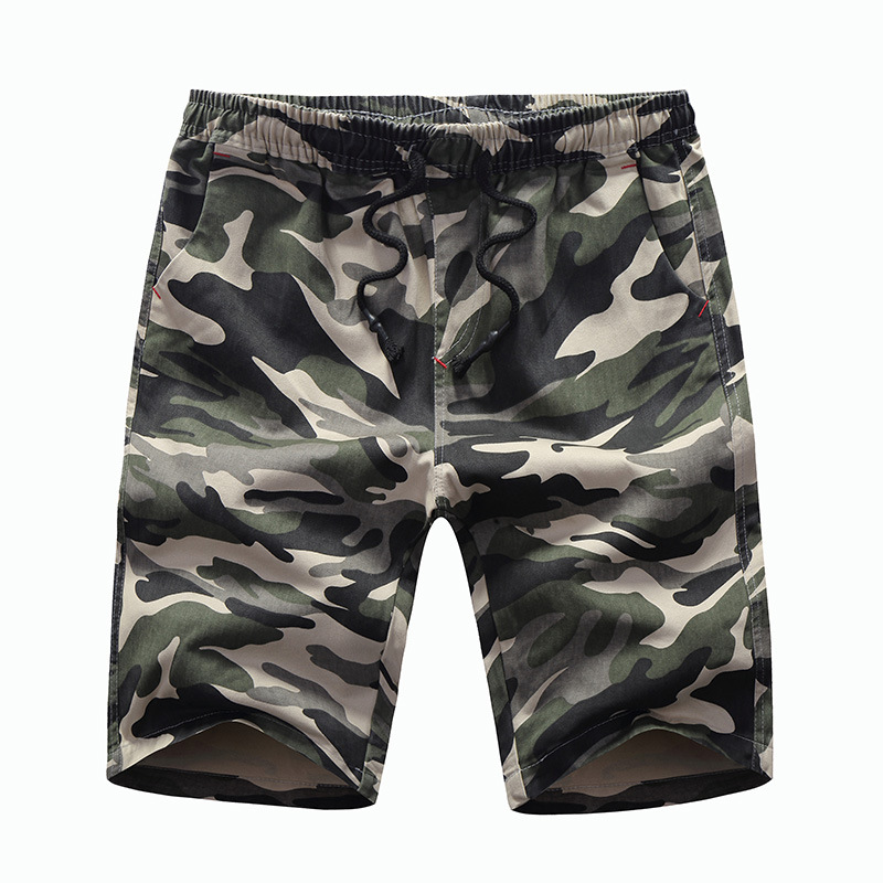 Summer New Style Men Medium Waist With Drawstring Japanese-style Popular Brand Pure Cotton Camouflage 5 Pants Youth Versatile Tr