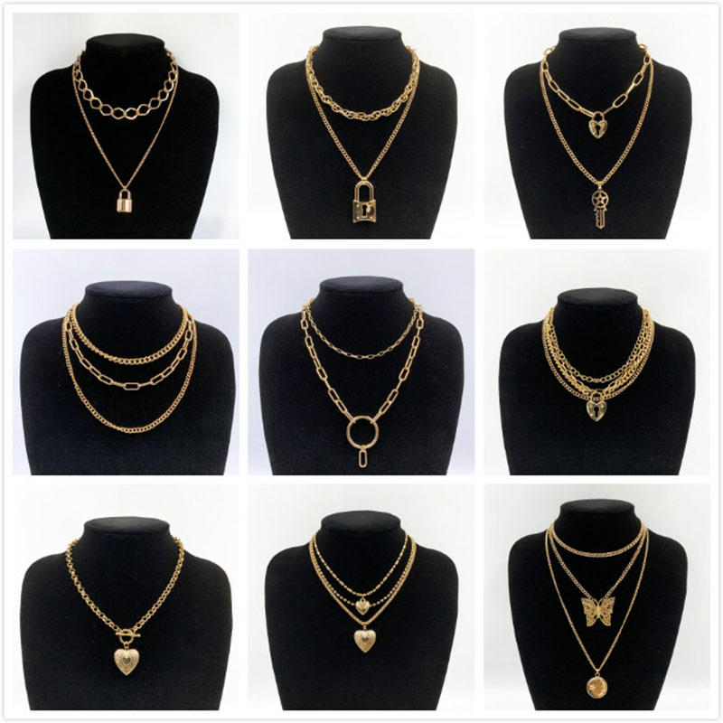 KMVEXO 12 Styles Double layer chain necklace with lock heart punk rock padlock pendant necklace Vintage hip hop Goth jewelry