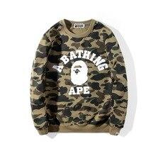 Streetwear Hoodies Pullover Men Sweatshirt Women Camouflage Letter Long-Sleeve Print