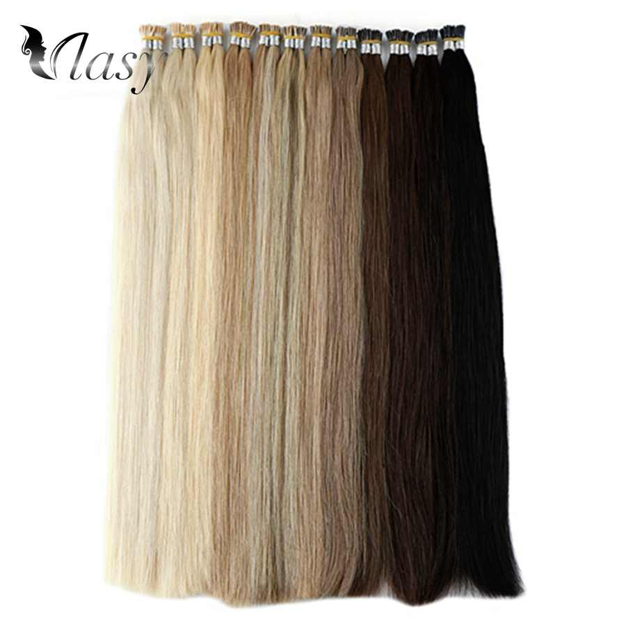 Vlasy 1 g/s IK Tip Hair Extensions Remy Fusion Stick Tip Haar Steil Double Drawn Keratine Pre Bonded Human Hair 20 ''28''