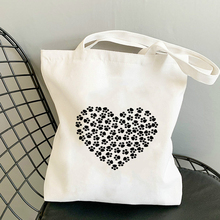 Love Heart Pattern Customizable Bag Anime Tote Bags for Women 2020 Free Shipping Canvas Shopper Grocery Logo Brand Shopping 2021