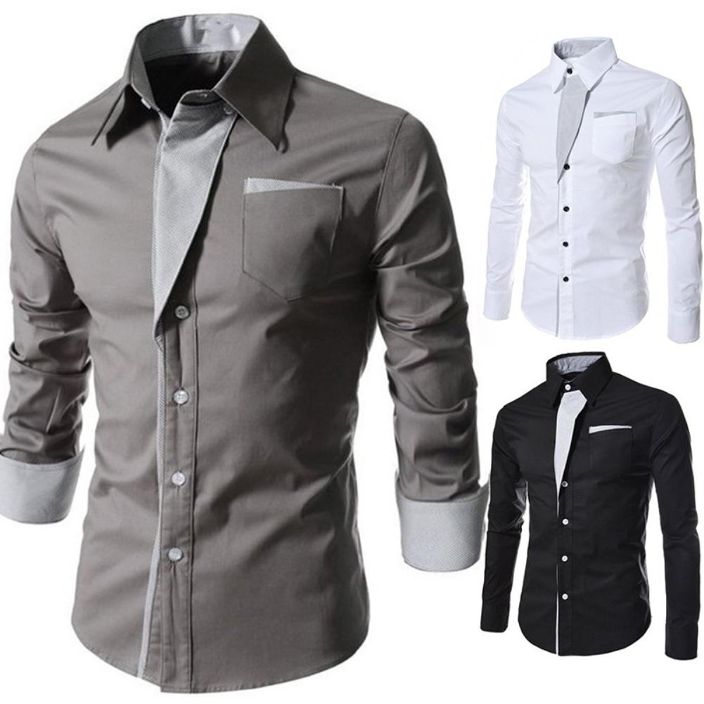 Fashion Men Stand Collar Long Sleeve Color Block Button Up Shirt Slimted Fitted Top