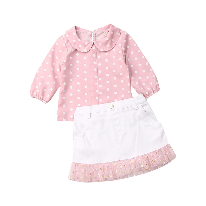 Toddler Baby Girl Infant Plain T Shirts Plaid Overall Skirt Set Cotton Outfits with Headband