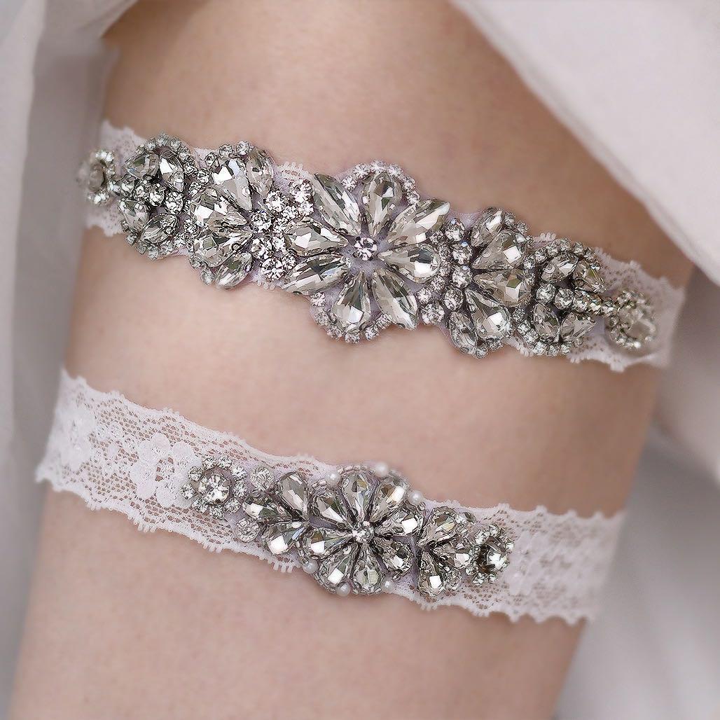 Wedding Garter Leg Ring Handmade Lace Sexy Garters Women Crystal Rhinestones Thigh Rings Brides Accessories Bridal Jewelry