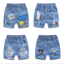 2020 Children Clothing Kids Jeans Summer Shorts Casual Hole Jeans Smiley Cowboy Baby Boy Clothes Cartoon Boys Denim Pants 2-8Y cheap Cotton Fits true to size take your normal size CZK20 Elastic Waist skinny Male Leisure Middle and small children (2~8 years old 90~140cm)