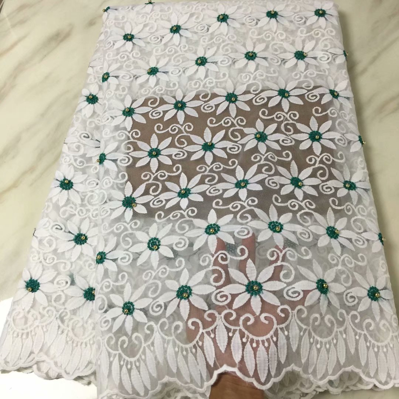 2019 African Tulle Lace Fabrics High Quality Swiss Voile Lace Embroidered Nigerian Lace Fabrics With Beads For Wedding Party