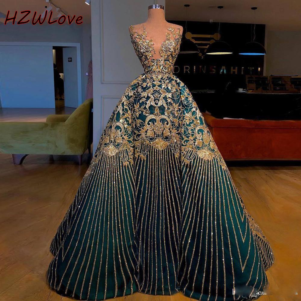 China Style Embroidery Prom Dresses Sheer Neck 3D Appliques Overskirts Evening Dress Beading Sequins Red Carpet Dress Vestidos