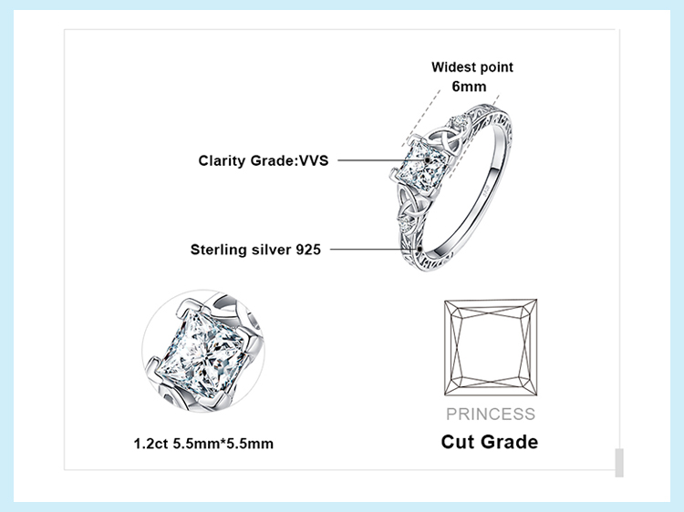 H502e25e11e23463a8d751517fdb20b4ab JPalace Celtic Knot Princess CZ Engagement Ring 925 Sterling Silver Rings for Women Anniversary Wedding Rings Silver 925 Jewelry