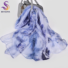 [BYSIFA] Ink Blue 100% Silk Chiffon Scarf Female Luxury Brand Long Scarves Beach Shawls Fall Winter Women Neck