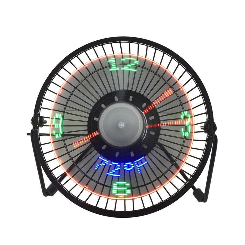 New Hot Selling USB LED Clock Mini Fan With Real Time Temperature Display Desktop 360 Cooling Fans For Home Office Summer