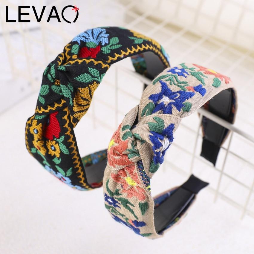 Levao Female Ethnic Hairband Embroidery Flower/Leaf Headband Head Bezel for Women Cross Knotted Hair Hoop Headbands Headwear