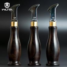 Wuta高品質革エッジ折目ステンレス鋼の刃 + 黒檀黒檀ハンドルマーキングエッジ飾るラインツール革細工