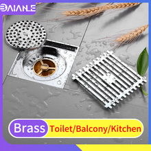 Floor Drain Cover Brass Bathroom Shower Floor Drains Tile Insert Kitchen Balcony Drainer Cover Anti-odor Floor Waste Grates цена 2017