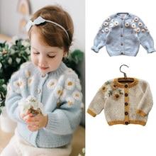 Cardigan Sweaters Floral Wawa Outwear Girls Baby Infant Boys Kids Winter Cotton Fashion