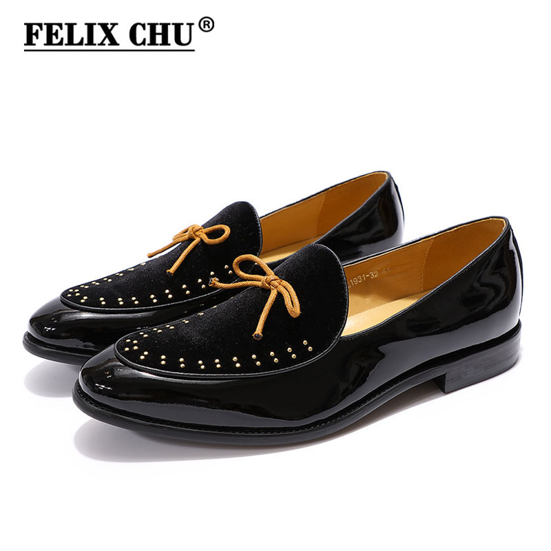 FELIX CHU Brand Designer Men Loafers Velvet Patent Comfortable Dress Shoes Mens Wedding Party Formal Shoes Men's Casual Shoes