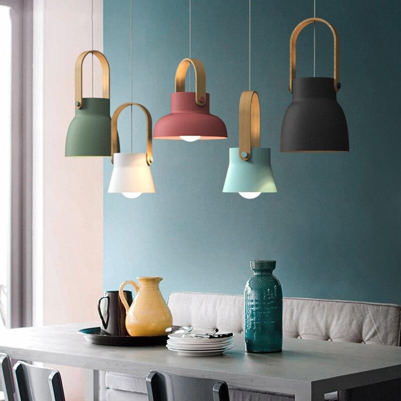 Nordic Loft LED Iron Pendant Lights Restaurant Room Bedroom Simple Hanging Lamp Home Indoor Kitchen art de pendant lamp Lighting