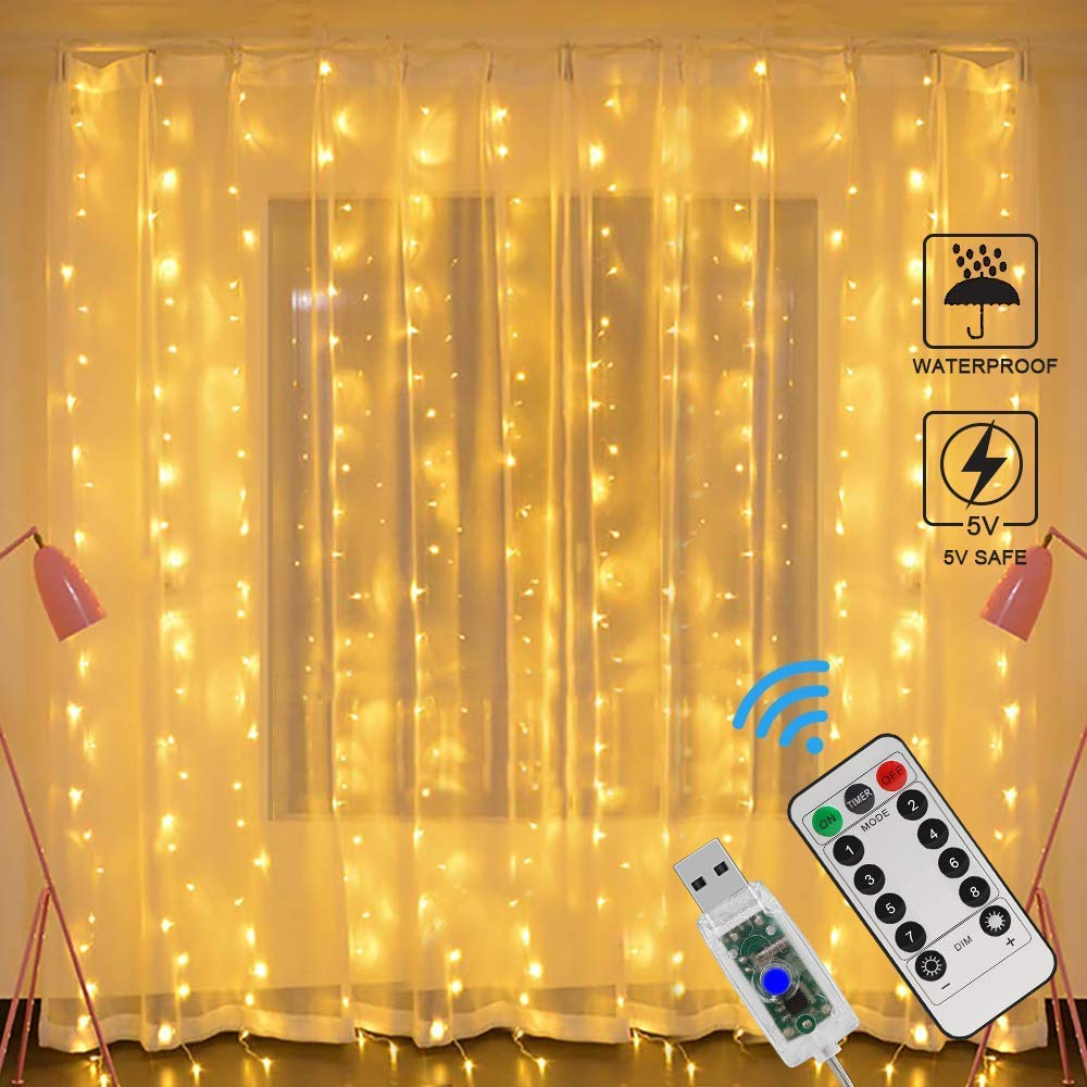 3M USB LED Curtain Fairy Lights Remote Control Feather Curtain Garland Window Lights For Party Home Wedding Luces Led Decoracion
