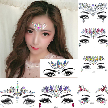 3D Face jewels Women Fashion sticker Make Up Adhesive Temporary Tattoo  Body Art Gems Rhinestone Stickers for  Festival Party