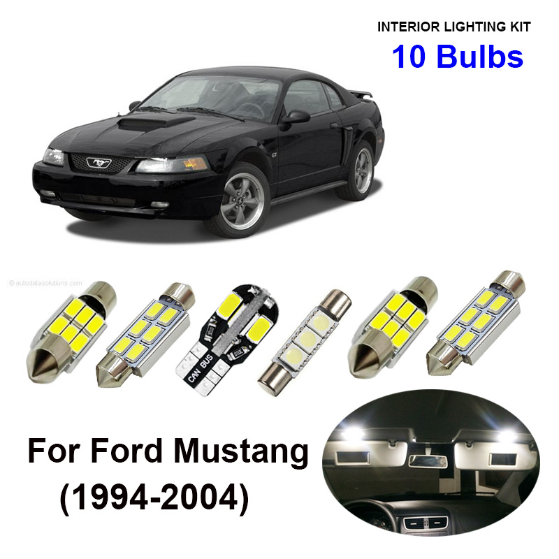10pcs Ice Blue Car Accessories LED Interior Light Bulbs Kit For 1994-<font><b>2004</b></font> Ford <font><b>Mustang</b></font> Map Dome Trunk Glove Box Plate Lamp image
