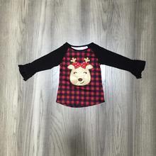 Одежда для маленьких девочек; Рождественская Одежда для девочек; футболки в клетку с оленем и рождественским оленем; Милый хлопковый топ-реглан для маленьких детей