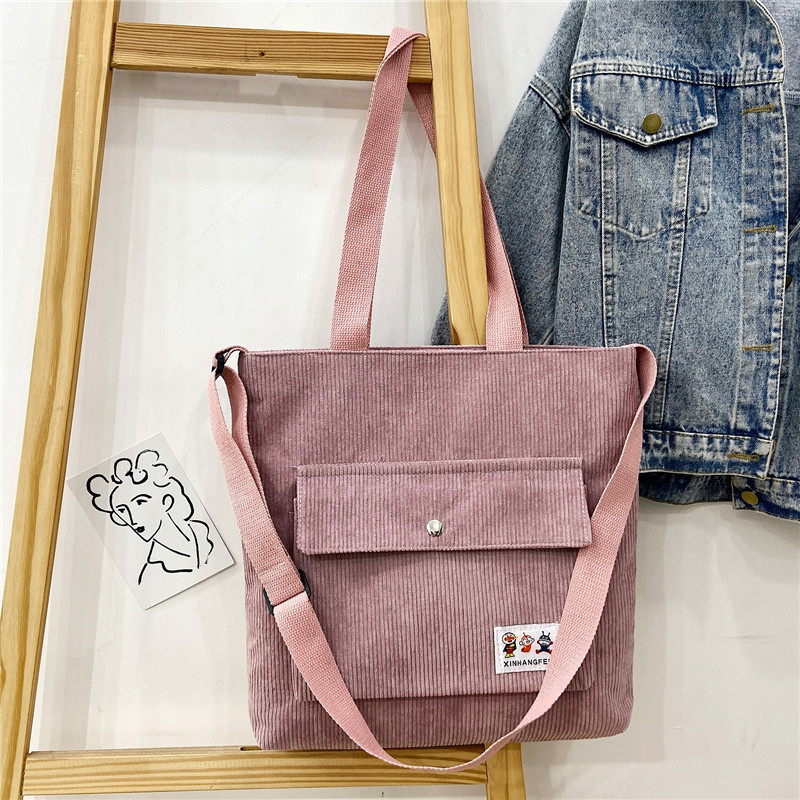 Women Tote Bag Corduroy Zipper Shoulder Bag Cotton Canvas Handbag Casual Female Crossbody Bag Ladies Vintage Bags Shopping