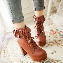 Ladies Ankle Boots Women Shoes Sweet Lace Lolita Lovely Cosplay Platform Ladies High Heels Boots Woman Plus Size 48 lovely hello kitty round toe platform heels sweet princess lolita cosplay lace up winter boots