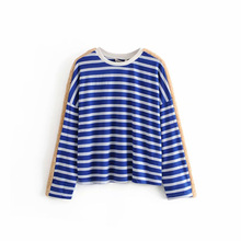 Women t-shirt Printed Striped T-Shirt Female Tops Autumn Casual O-Neck Long Sleeve Loose Shirt Female Clothes